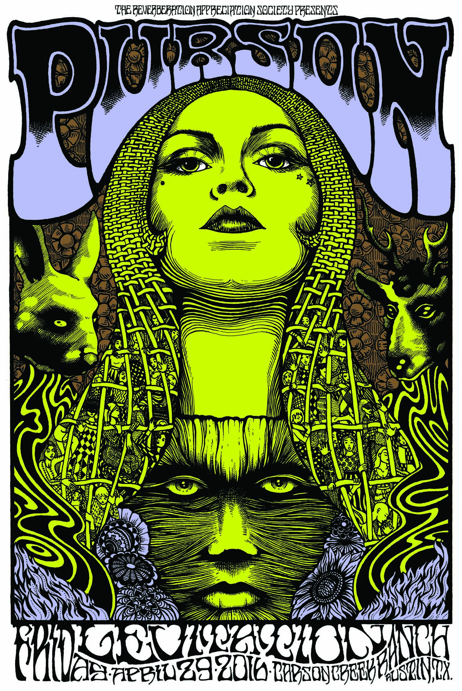 Collaboration with Alan Forbes. Poster for Purson for Levitation Fest 2016 available at sercretserpents.com